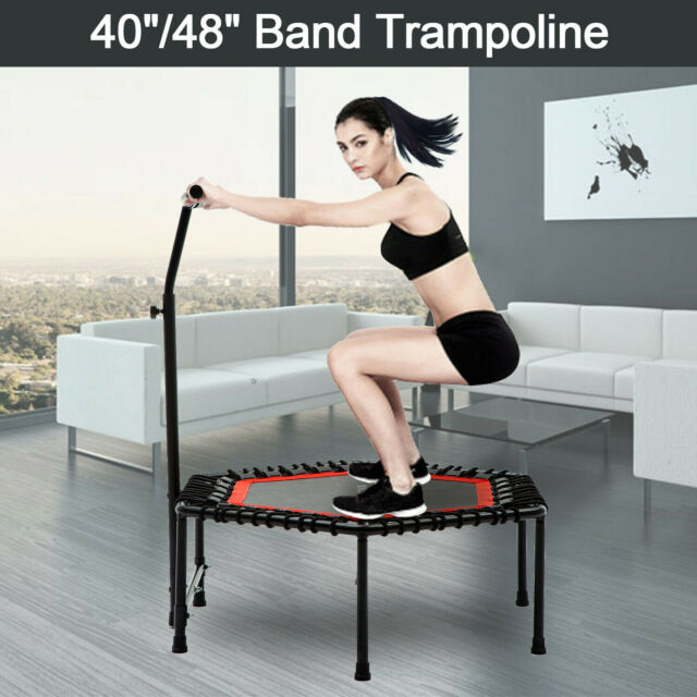Foldable 40 in Rebounder Fitness Mini Trampoline with Adjustable Handrail