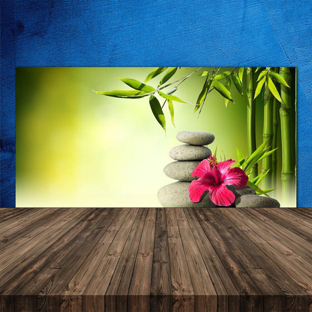 Crédence de cuisine en verre Panneau 120x60 Floral Bambou Pierres Fleurs