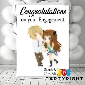 Personalised Engagement Wedding Congratulation Card Anime Couple