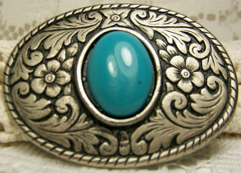 Silvertone Pewter and Turquoise Look Belt Buckle Used Floral Design No Markings