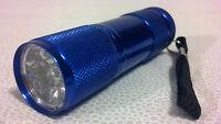 Brand Handheld Uv Blacklight Flashlight Blue Led 9 Vaseline Glass Ships Usa