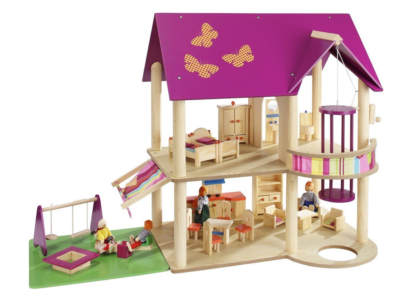 Howa casa delle bambole in legno incl. möbelset e bambole 4