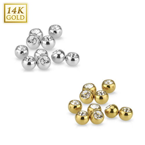 Replacement Ball 14K Solid Yellow or White Gold CZ Gem 14G 4MM Ball For Barbell
