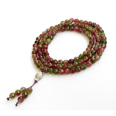 Faceted Pink Green Jade Tibet Buddhist 108 Prayer Beads Mala Necklace