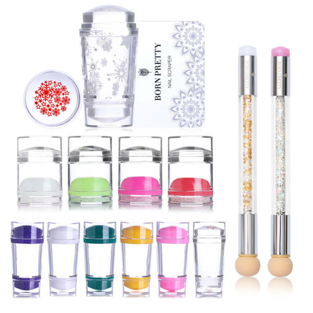 Dual-ended Jelly Silicone Nail Stamper & Scraper Set Stamping Tools Manicure DIY