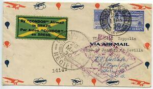 ZEPPELIN-MAIL-Brazil-1930-Europe-Pan-American-Graf-Zeppelin-Rio-to-Seville-Spain