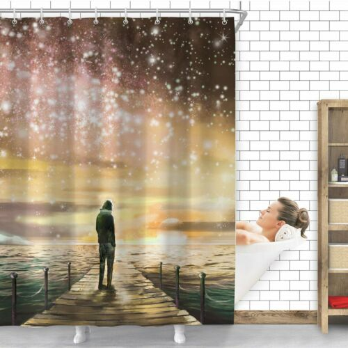 Galaxy Starry Waterproof Bathroom Home Decor Shower Curtain Set With 12 Hooks