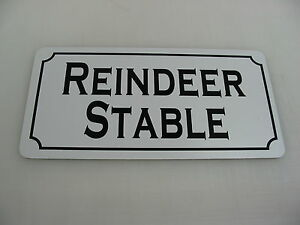 Details About Reindeer Stable Metal Tin Sign For Farm Barn Home Christmas Decoration