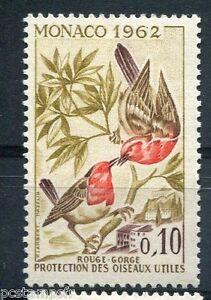 MONACO-1962-timbre-582-OISEAUX-ROUGE-GORGE-neuf