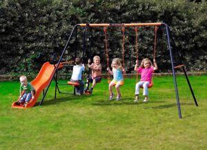 Hedstrom-Europa-Double-Slide-Swing-amp-Glider-Set-Kids-Garden-Set