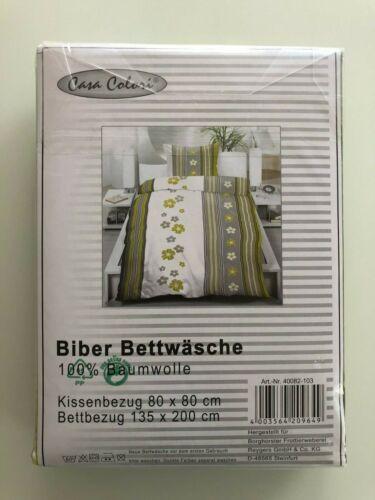 Bettwäsche Biber 135x200 grau-grün Blumen Casa Colori Baumwolle Streifen Flanell