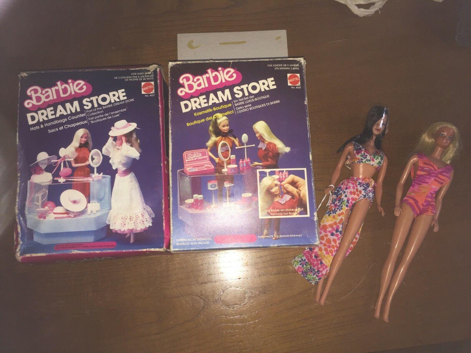 Barbie Hawaiian 1975-Steffi Rostro + otro Rubio +2 tiendas de sueño-Vintage-Paquete