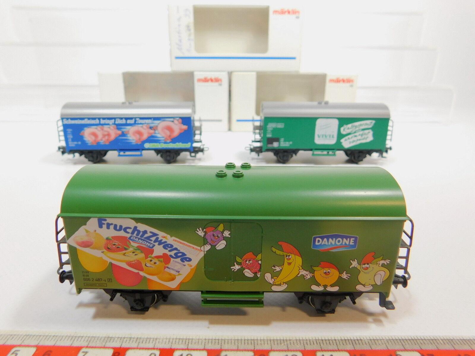 AQ547-1x Märklin H0 AC Güterwagen  4425 Vivil+44177 Danone+44181, NEUW+OVP