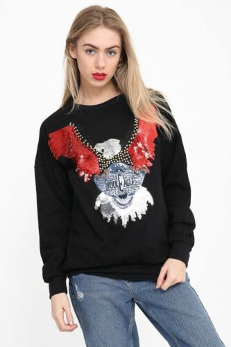 Femme Femmes à Manches Longues Sequin Embellie Eagle Sweat-shirt Pullover Pull