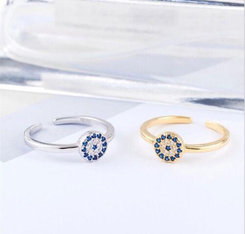 Blue Delicate Evil Eye Adjustable Fashion ring gold Silver Sterling 925 uk gift