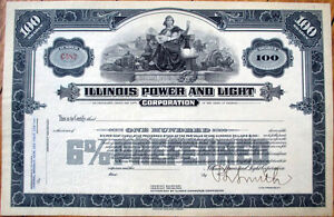 1920-Stock-Certificate-039-Illinois-Power-and-Light-039-IL-Utility