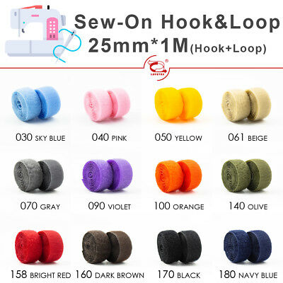 "WHITE HQG FREE P/&P 1 METRE HOOK /& LOOP SET SEW ON FASTENER 2/""//50MM"