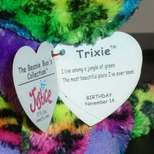 Ty Beanie Boo/'s ~ TRIXIE the Leopard 2014 Justice Exclusive 6 Inch NEW MWMT