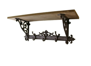 Wood-Wall-Shelf-Rustic-Style-Decorative-Cast-Iron-Coat-Hooks-Storage