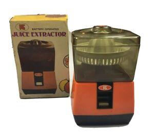 Vintage-Retro-KS-Juice-Extractor-Orange-1960s-in-Original-Box-Battery-Operated