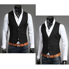 Fashion Men's Formal Business Casual Dress Vest Suit Slim Tuxedo Waistcoat Coat