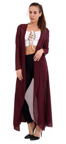 Womens Ladies Waterfall Open Front Chiffon Long Cardigan Long Sleeve Plus Sizes