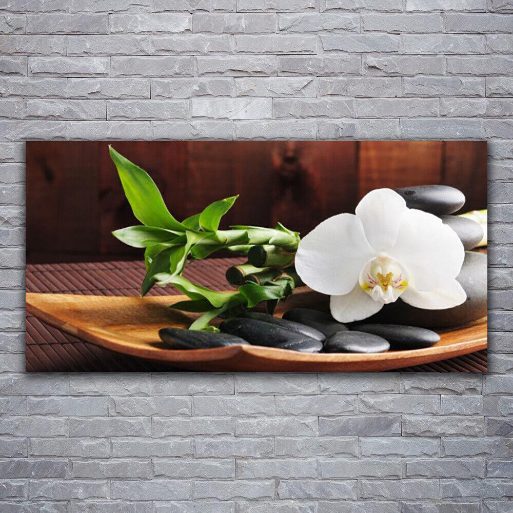 Glasbilder Wandbild Druck auf Glas 120x60 Blaume Bambusrohr Steine Kunst