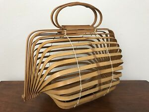 Vintage 1950 S Pinup Japanese Folding Bamboo Basket Handbag Purse