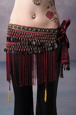 Belly Dancing Classical Fringe Tribal Hip Scarf Skirt Wrap Velvet Waist Chain