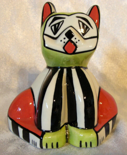 Lorna Bailey ceramic Cat figurine - Winston - Cubism - Green Orange - Ellgreave