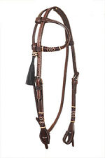 Western Dark Oil Rawhide Braided One Ear Head Stall With Horse Hair Tassel