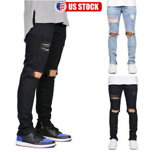 Mens-Ripped-Skinny-Jeans-Distressed-Jogger-Biker-Slim-Fit-Denim-Pants-Trousers