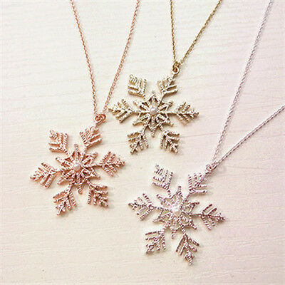Women Charming Christmas Snowflake Necklace Sweater Pendant Jewelry