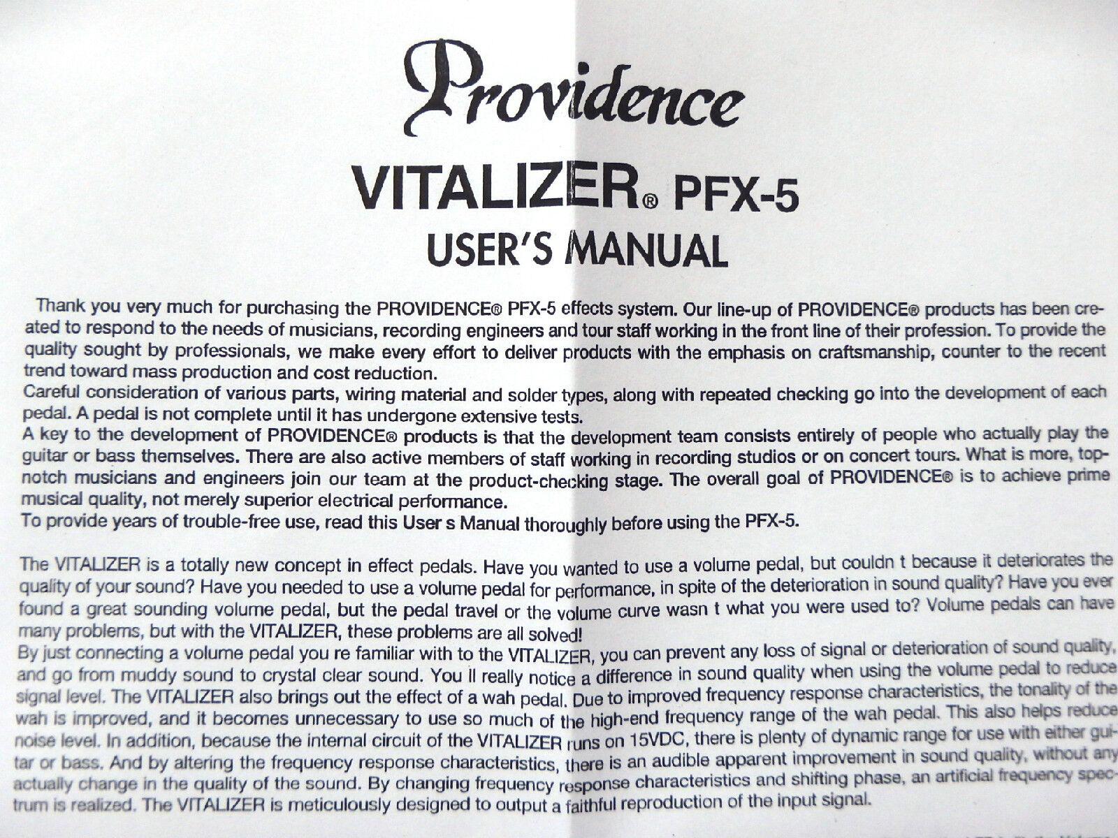 RARE  Providence PFX-5 Vitalizer Guitar & & & Bass Effect Pedal d3eb65