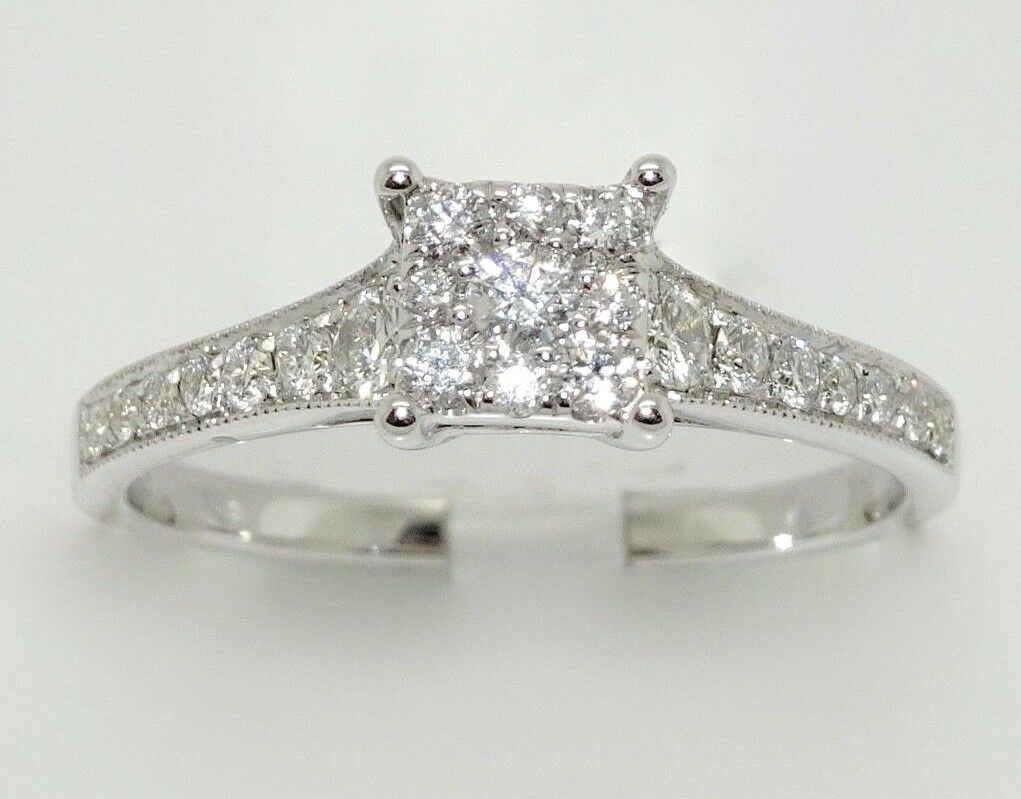 14k WHITE gold DIAMOND PAVE CLUSTER ENGAGEMENT RING