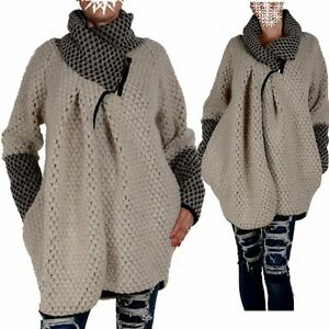 WOLLE-PONCHO-STRICK-JACKE-PULLOVER-MANTEL-36-38-40-42-44-S-M-L-UBERGANG-WINTER