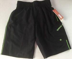 Speedo-Boys-Swim-Trunks-Size-Small-Black-Green-S-Liner-Shorts-NWT-UV-Protection