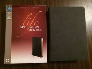 niv life application study bible -distressed black bonded leather