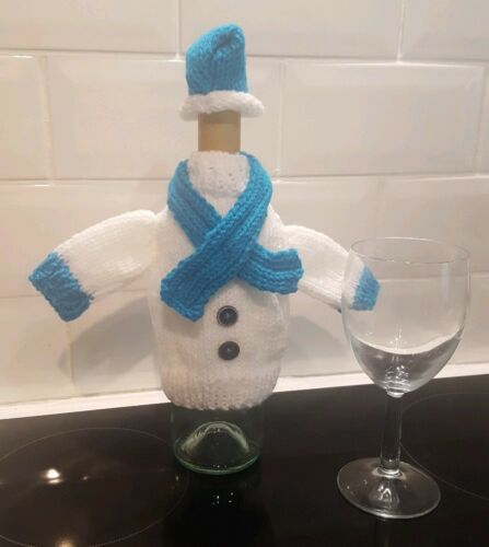 Christmas Table Decoration Hand knitted Christmas Wine Bottle Covers With Hat