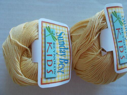 Reynolds Kids Sunday Best cotton blend yarn Soft Yellow lot of 2 145 yds ea