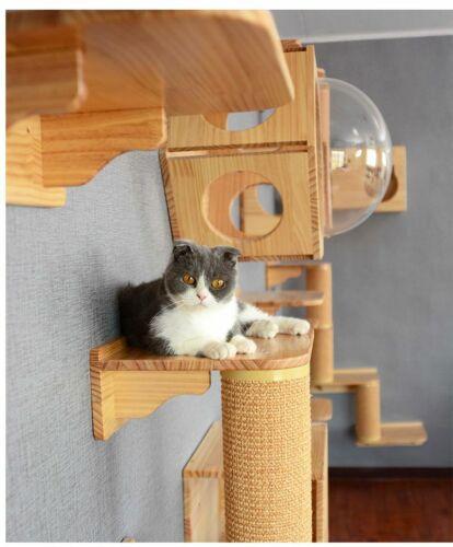 Wall Mounted Cat Tree Wood Platform, Wall Mounted Cat Furniture Uk