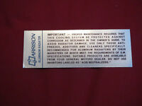 1960 1961 Chevrolet Corvette Harrison Aluminum Radiator Instructions Decal