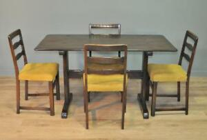 Attractive-Large-Vintage-Ercol-Oak-Dining-Kitchen-Table-amp-Four-Matching-Chairs