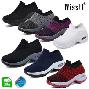 Women-039-s-Sports-Air-Cushion-Sneakers-Athletic-Mesh-Walking-Slip-On-Casual-Shoes