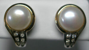 New-Sterling-Silver-14KT-9mm-FW-Cultured-Pearl-amp-Genuine-Diamond-Post-Earrings
