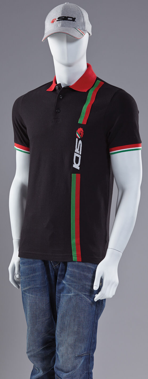 SIDI CASUALS 2015 Moto Ciclismo Bici Stripe Polo Camicia T-shirt Tee Nero