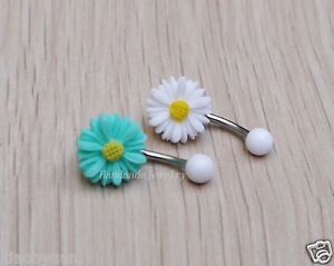 a6ce7607ab53a 2ps flower belly button ring Navel Piercing Belly jewelry Summer ...