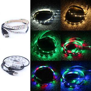 1x-50CM-1M-2M-USB-Bande-Ruban-3528-LED-Strip-Flexible-RGB-SMD-Light-TV-Lampe-NF