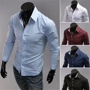 Fashion-Men-039-s-Luxury-Casual-Dress-Slim-Fit-Tee-T-Shirts-Long-Sleeve-Dress-Shirts