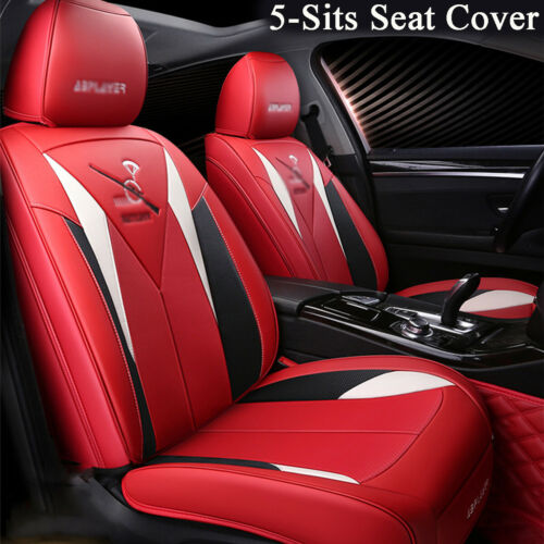 5-Sits Red PU Leather Car Seat Cover Front /& Rear Full Set Interior Accessories